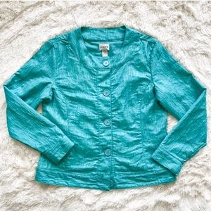 Chico's Ripple Ripple Kaden Jacket Cyan Medium